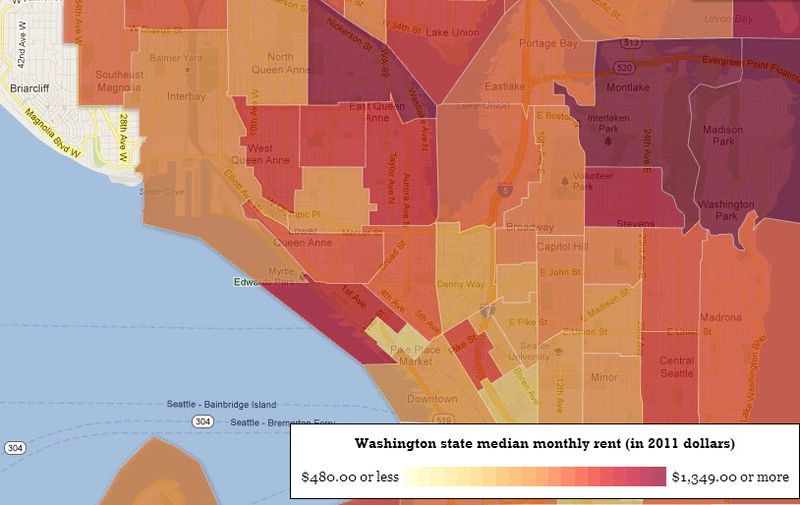 Map of rental in Seattle