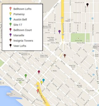Map of Belltown and Denny Triangle of Viaduct Affected Bldg